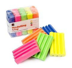 Fun Clay Fluoro 5 Colours 50G x Bl,Or,Yl,Pnk & Gr 9314289015459