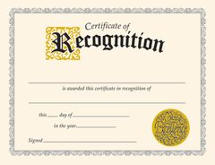 Certificate - Of Recognition - Pk 30 T2564