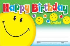 Certificate - Happy Birthday Smile - Pk 30  T81018
